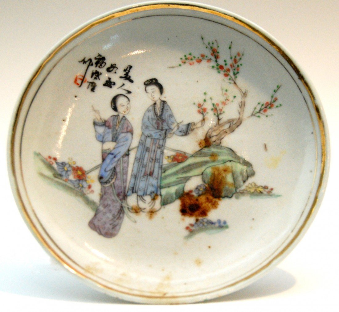116: Saucer, Japanese, signed Saucer with hand paint de