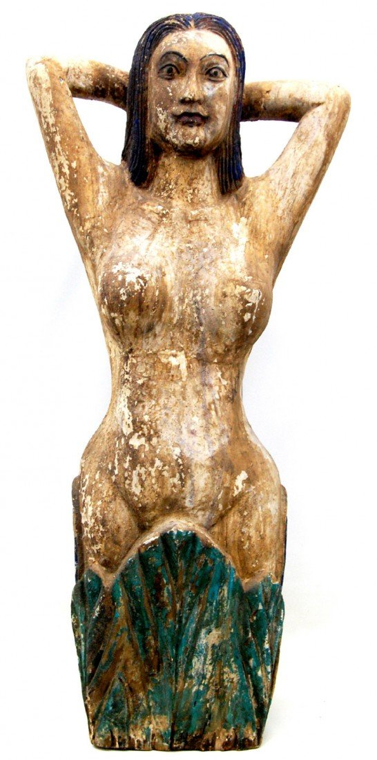 123: Wood carving in the form of a figurehead, 20th c.