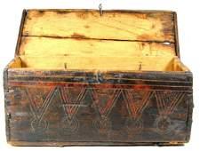 276 Pine Box Decorated wpinwheels medallions c1700