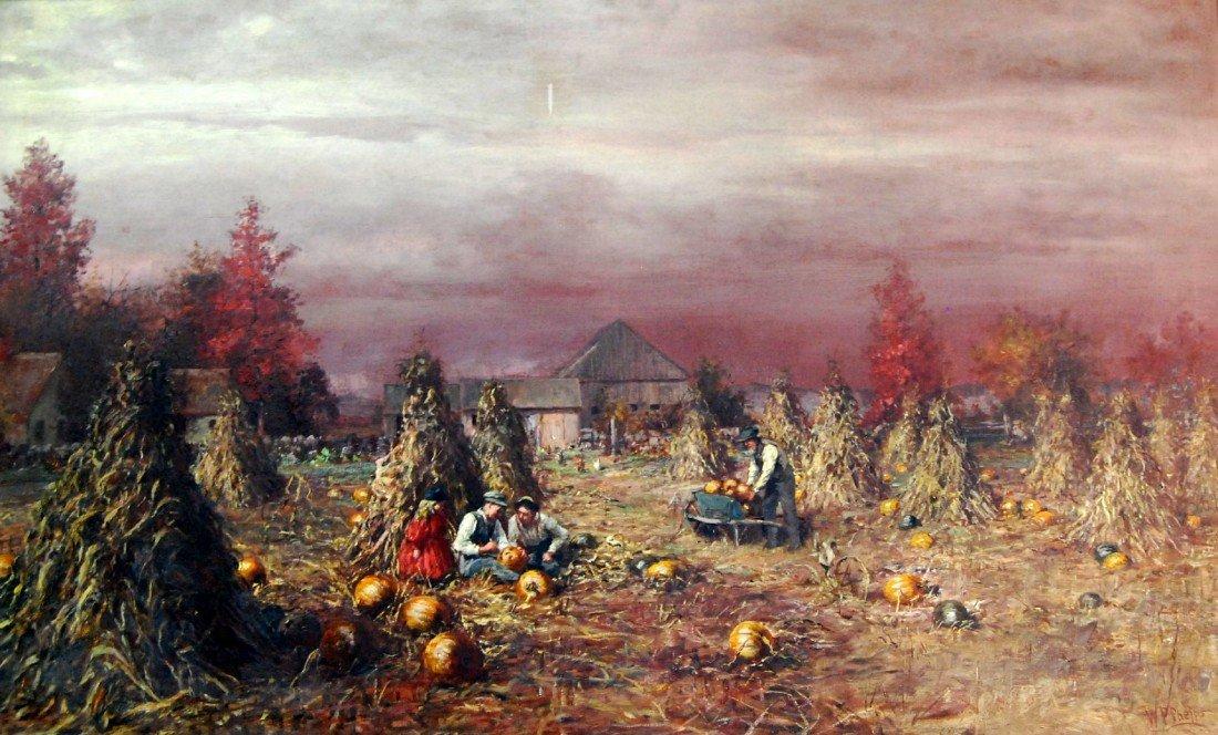 284: O/C Wm Preston Phelps, Carving the Pumpkin 1885