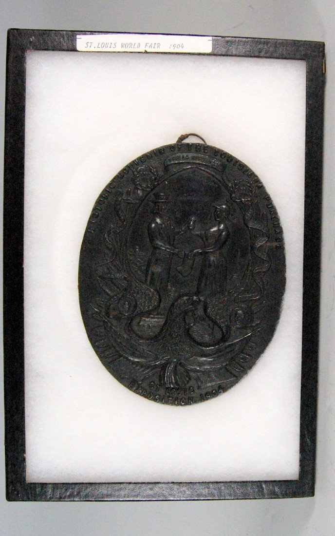 602: Plaque, Uncle Sam, St. Louis Expo 1904 Metal with  - 2