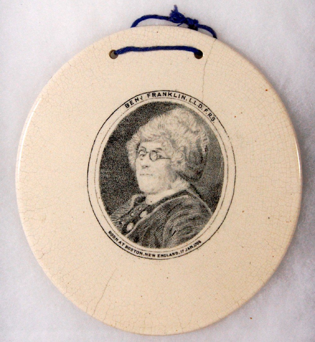 603: Ben Franklin Wall Plaque, c. 1800 Wall plaque of g