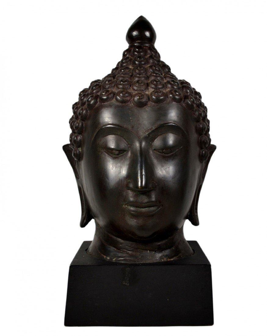 119: Thai Buddha Head sculpture, Bronze on wood base