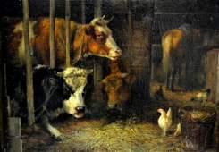 302: Oil on Canvas Barn scene, Dirk Von Lockhorst, 1866