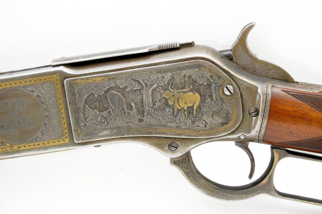 504: Winchester M1876, engraved scene, deluxe stocks