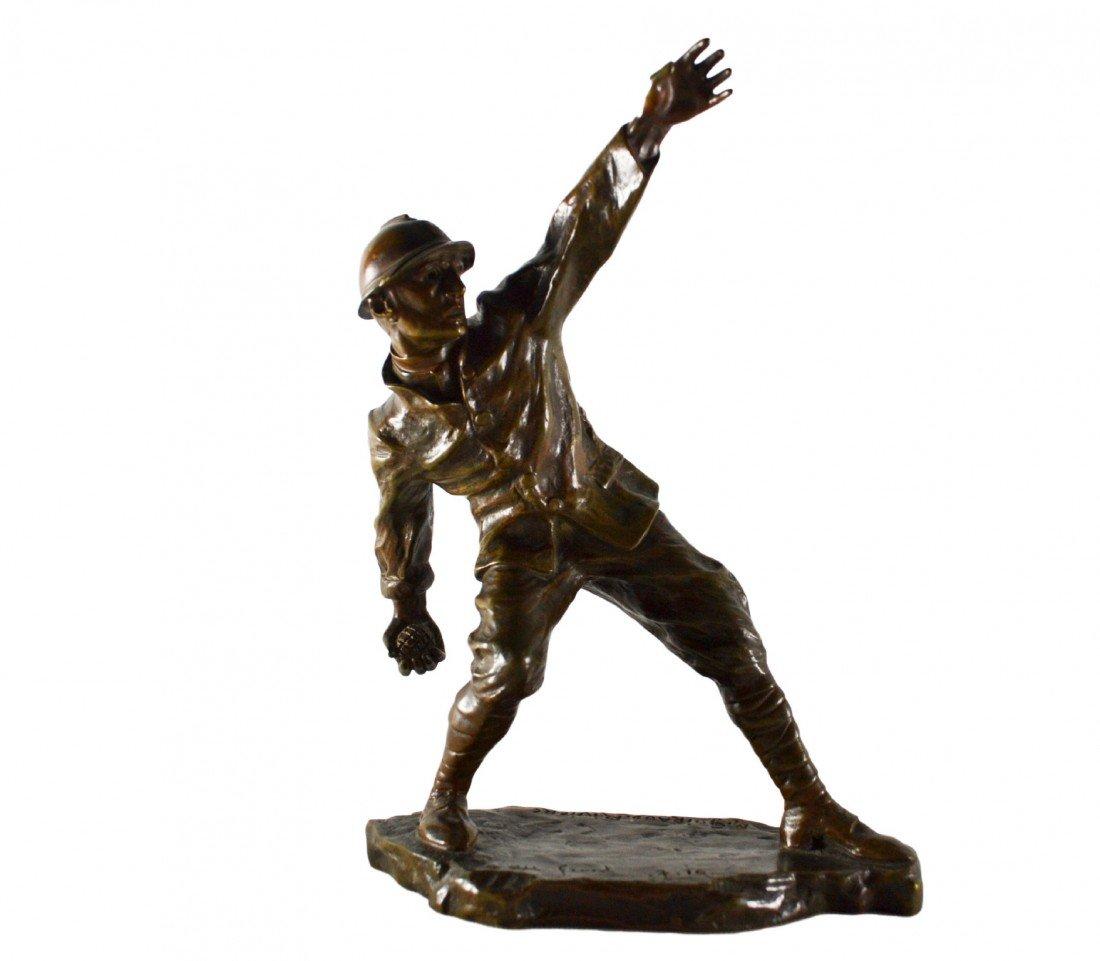 580: Bronze 'Grenade Thrower', M. Guiraud Riviere 1916