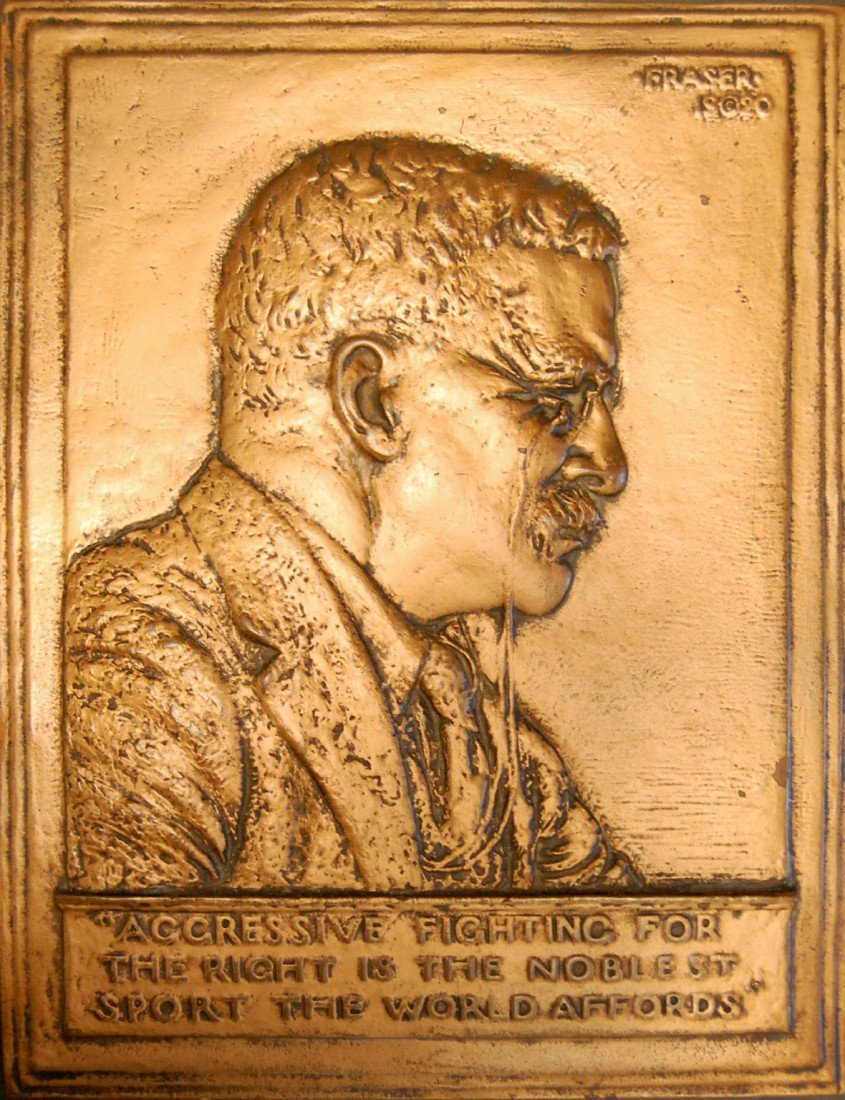 581: Bronze, Plaque 'Teddy Roosevelt' by Fraser, 1920