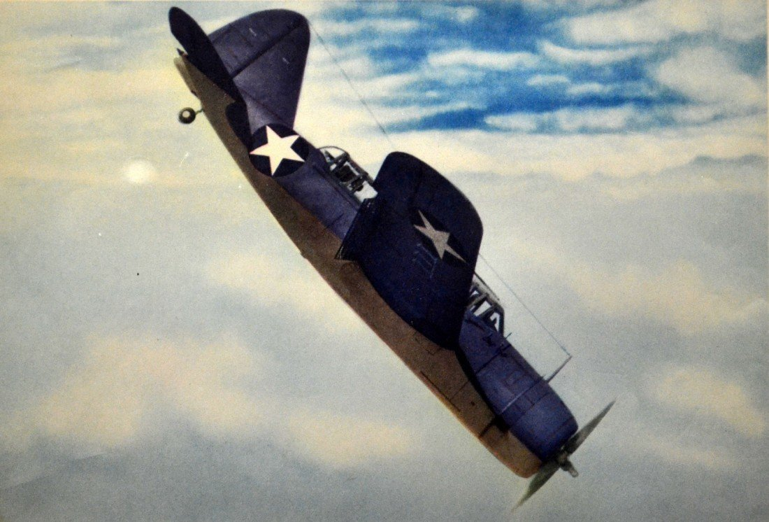 583: Color Photo Litho Print WWII British Dive Bomber