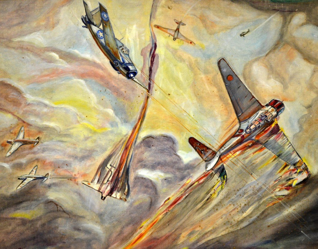 593: O/B WWII Pacific Aerial Dogfighting Painting