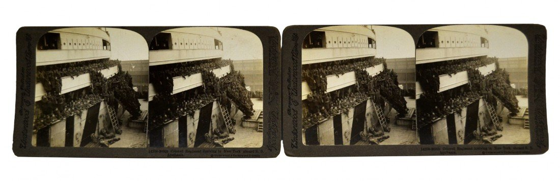 595: Stereoviews, (2) 360th Colored Regmt Arriving NY