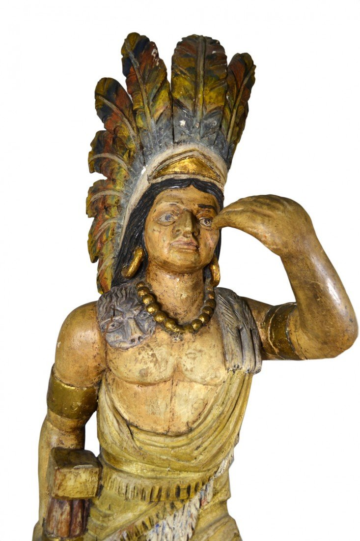 "635: Tobacconist Figure, Indian, Orig. Paint, 5'7"" - 3"