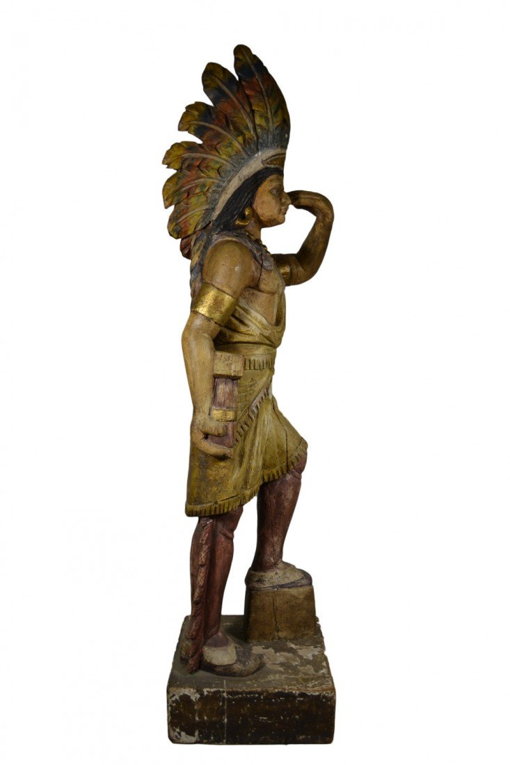"635: Tobacconist Figure, Indian, Orig. Paint, 5'7"" - 4"