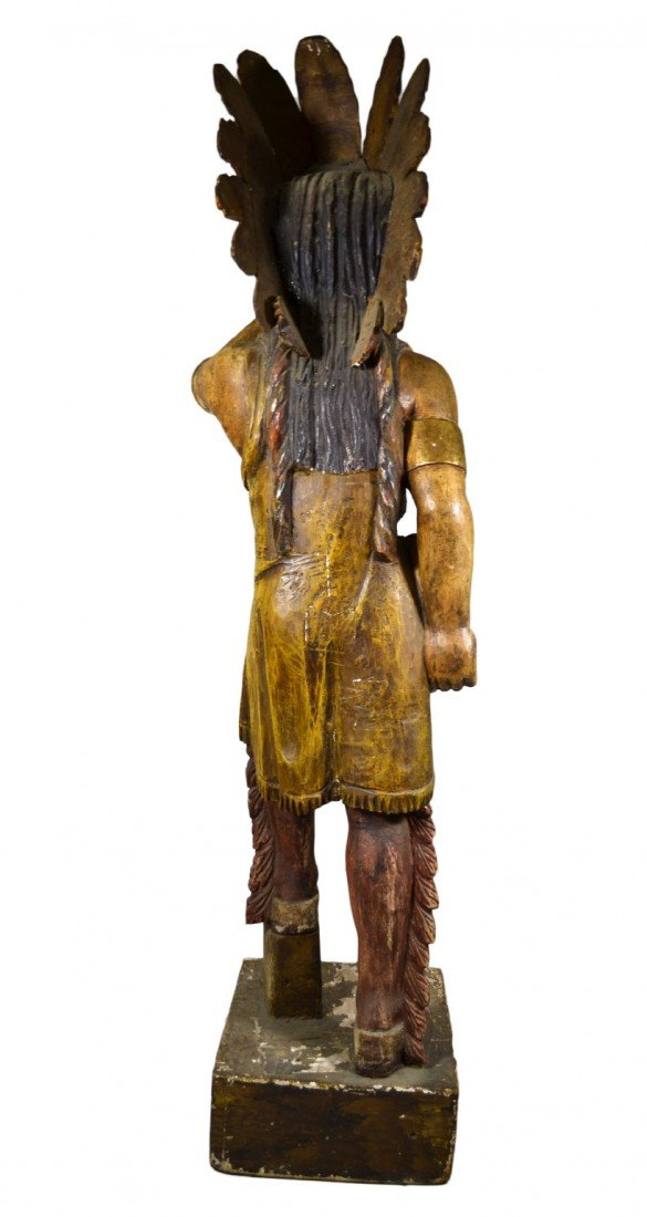 "635: Tobacconist Figure, Indian, Orig. Paint, 5'7"" - 5"
