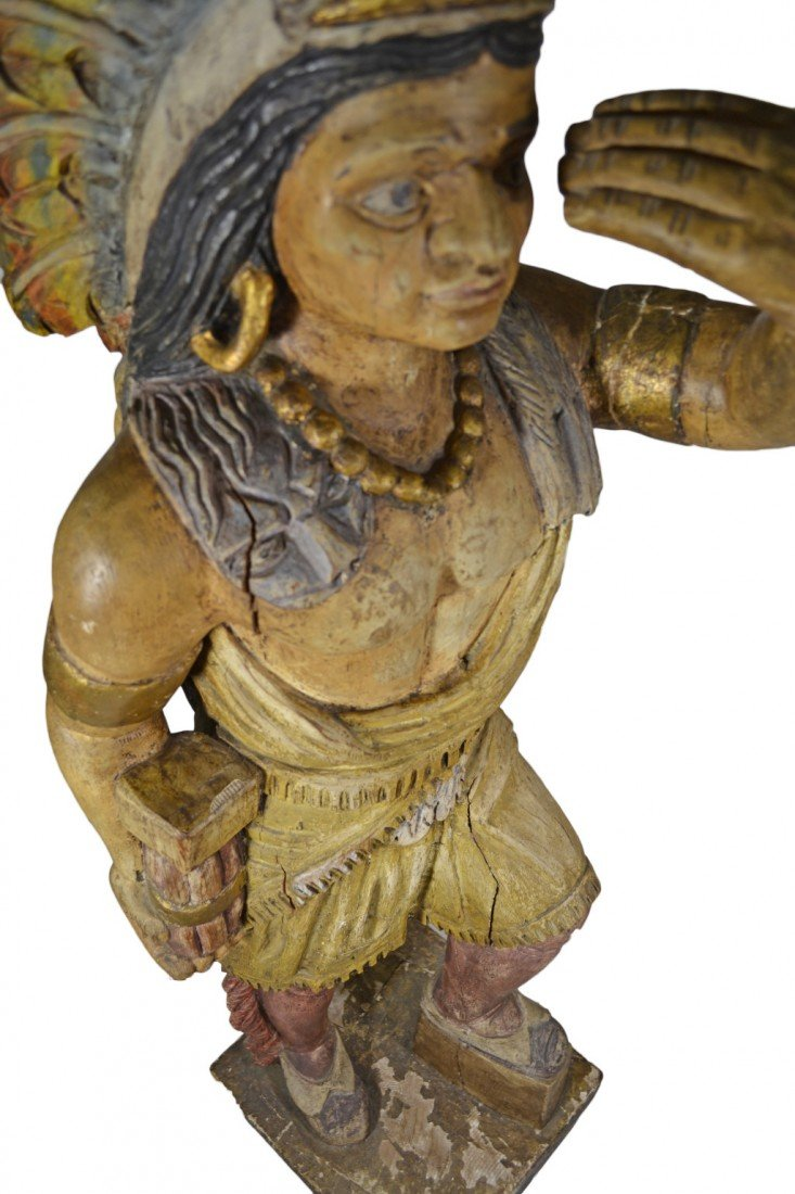 "635: Tobacconist Figure, Indian, Orig. Paint, 5'7"" - 6"