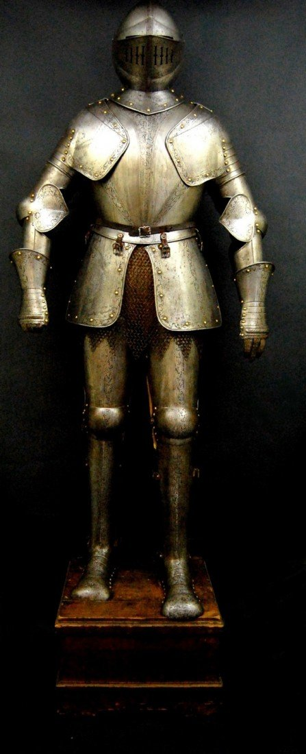 662: Suit of Armor, 19th C, complete suit with stand