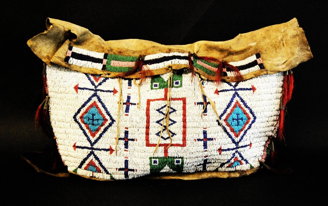 873: Teepee Possible Bag, Beaded, Lakota 19th C Sinew