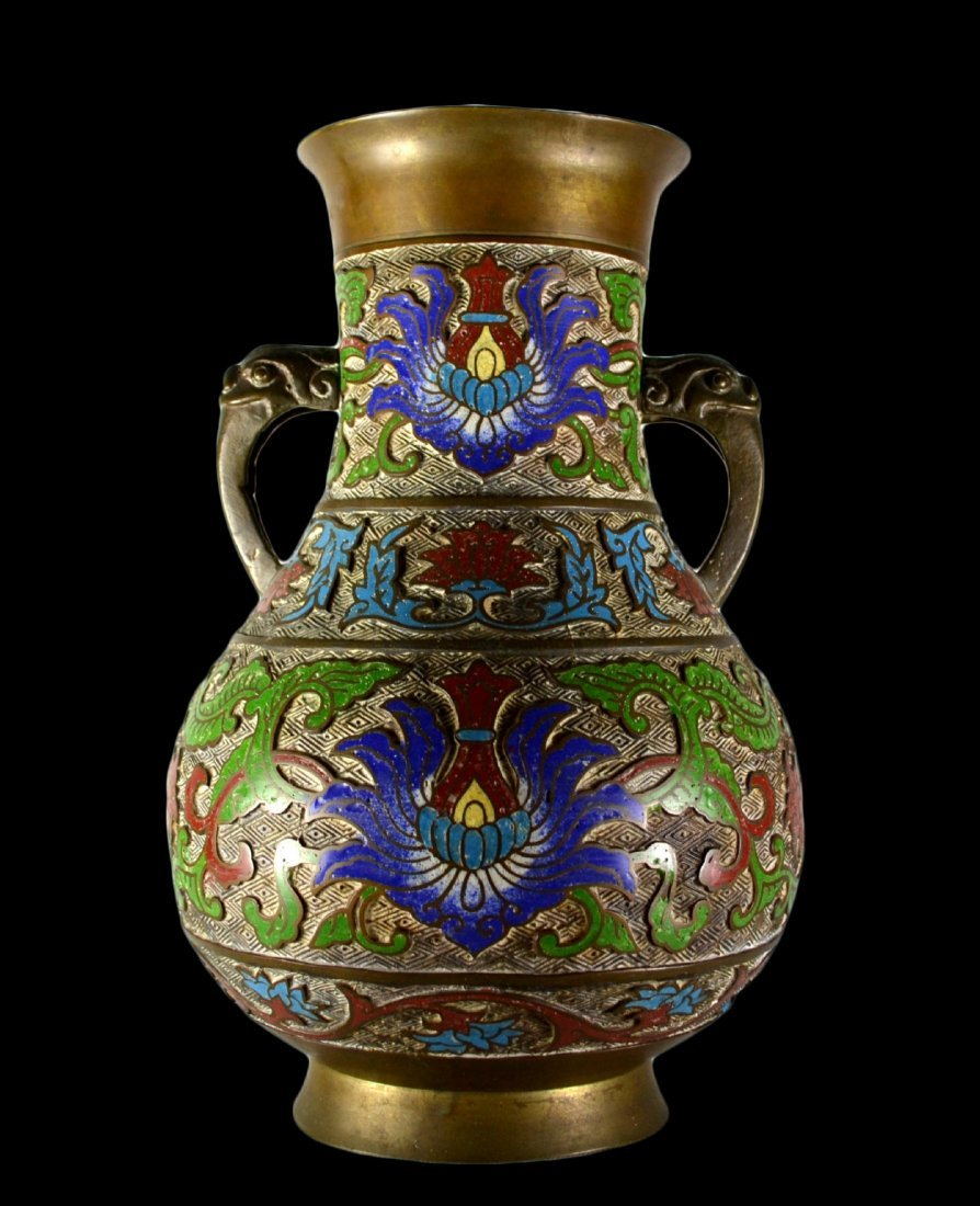 12: Vase, Cloisonne, marked Japan