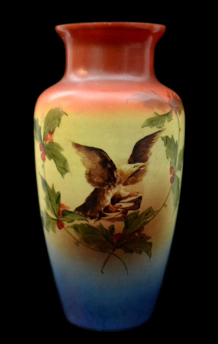 13: Vase, Bristol Glass paint decorated eagle, 15""