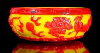 32: Peking glass bowl, red/yellow, reign mark 19-20C