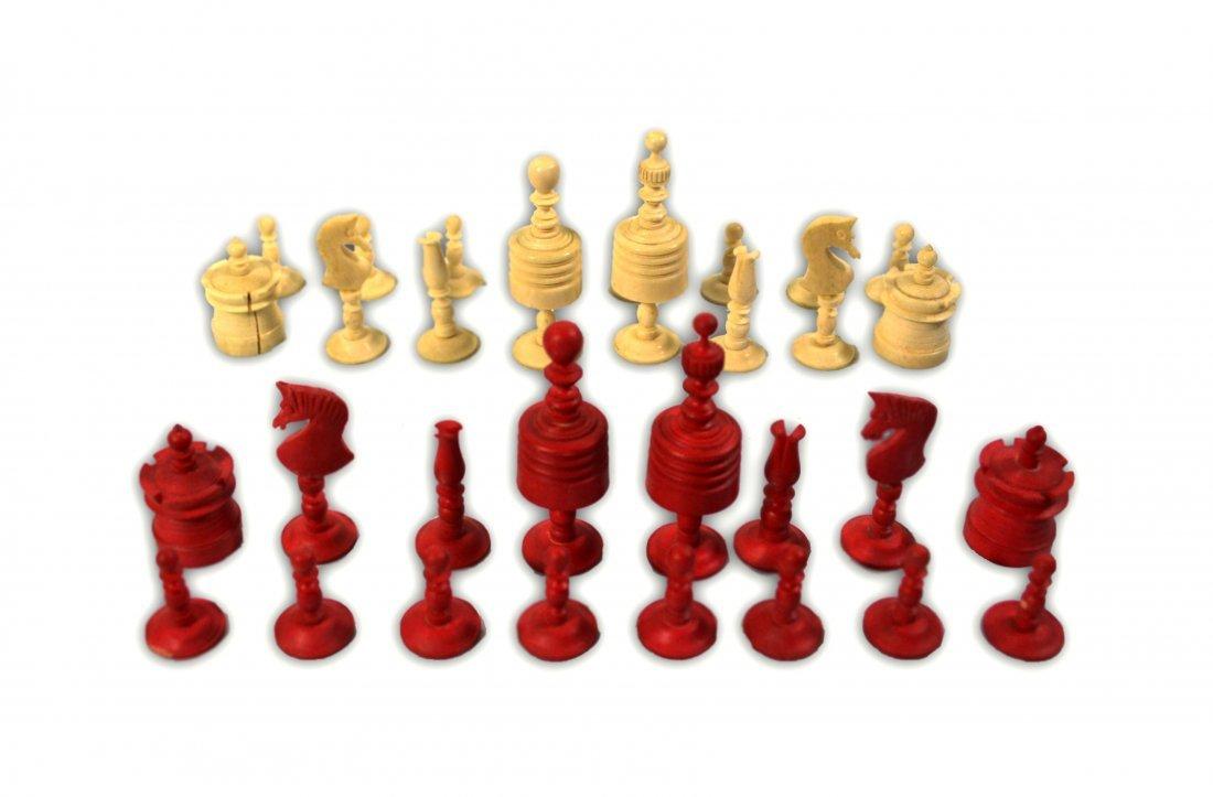 503: Chess set, Complete, Bone, 19th c. w/pine box