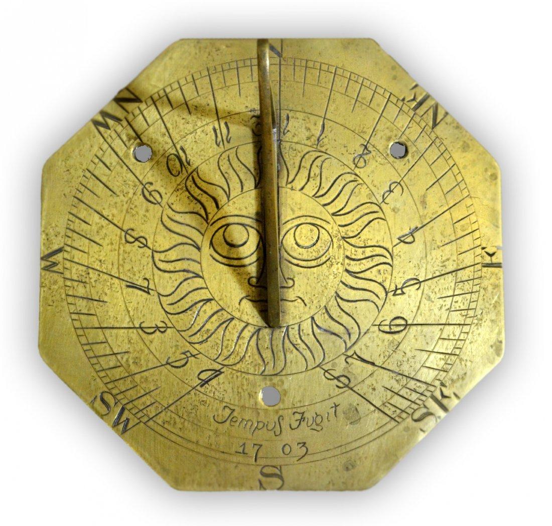 513: Sundial, Tempus Fugit 1703, Brass, Octagon