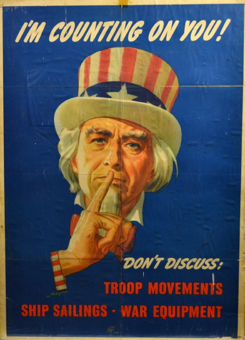 587: WWII Uncle Sam Poster 'I'm Counting On You' 1943