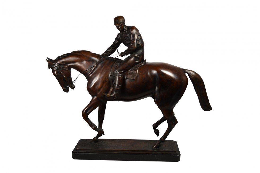 Bronze, 'Jockey & Horse', R.A. De Luca