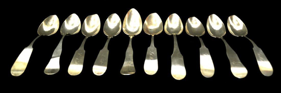 (10) American Coin Silver Serving Spoons, c1850, 12 oz.