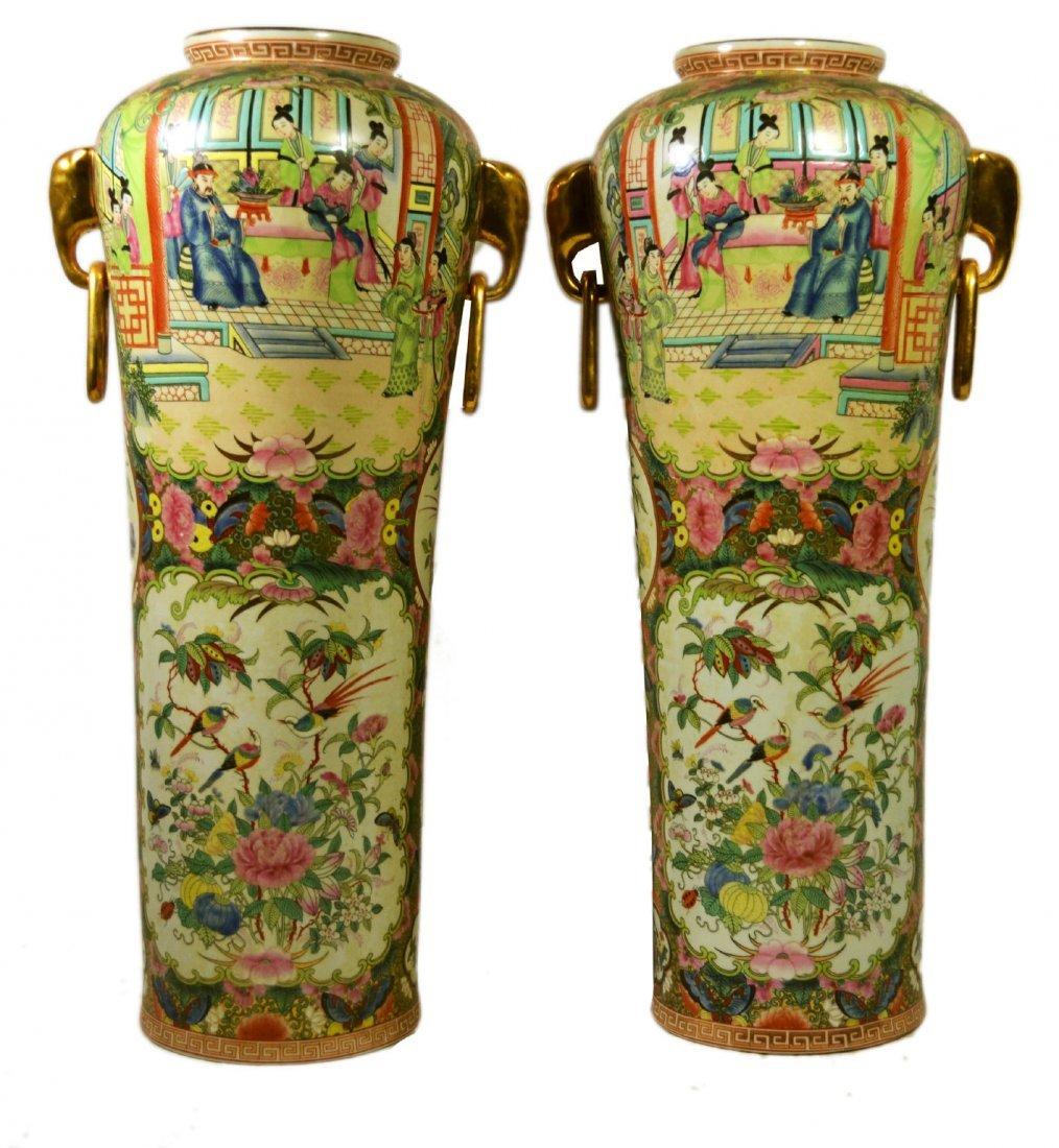 (2) Umbrella Stands, Rose Medallion Porcelain