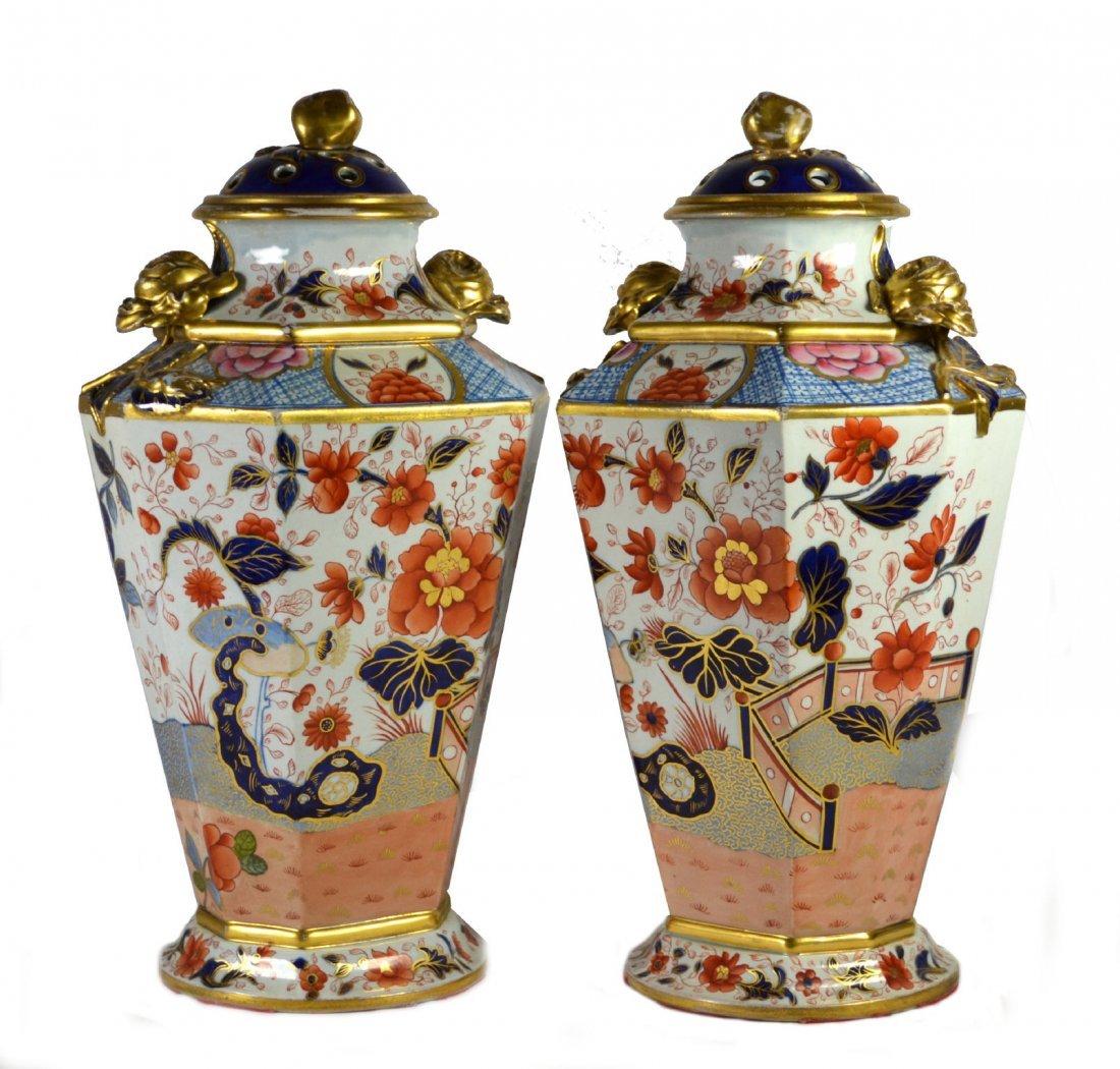 Pair, Urns, Covered, Mason Ironstone, c.1820
