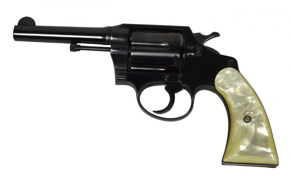 Pistol, Colt, blue w/simulated pearl grips