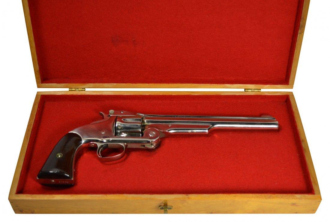 Pistol, S&W, nickel finish, New Model #3, Russian