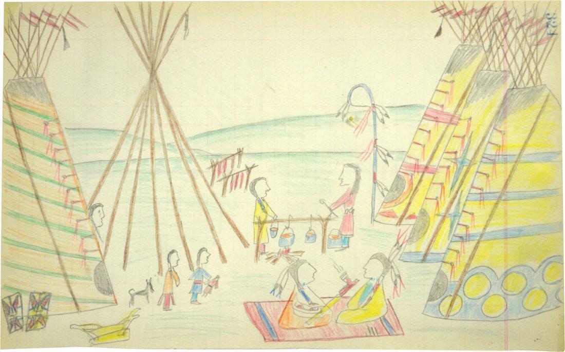 Ledger Drawing - American Indian, Naive