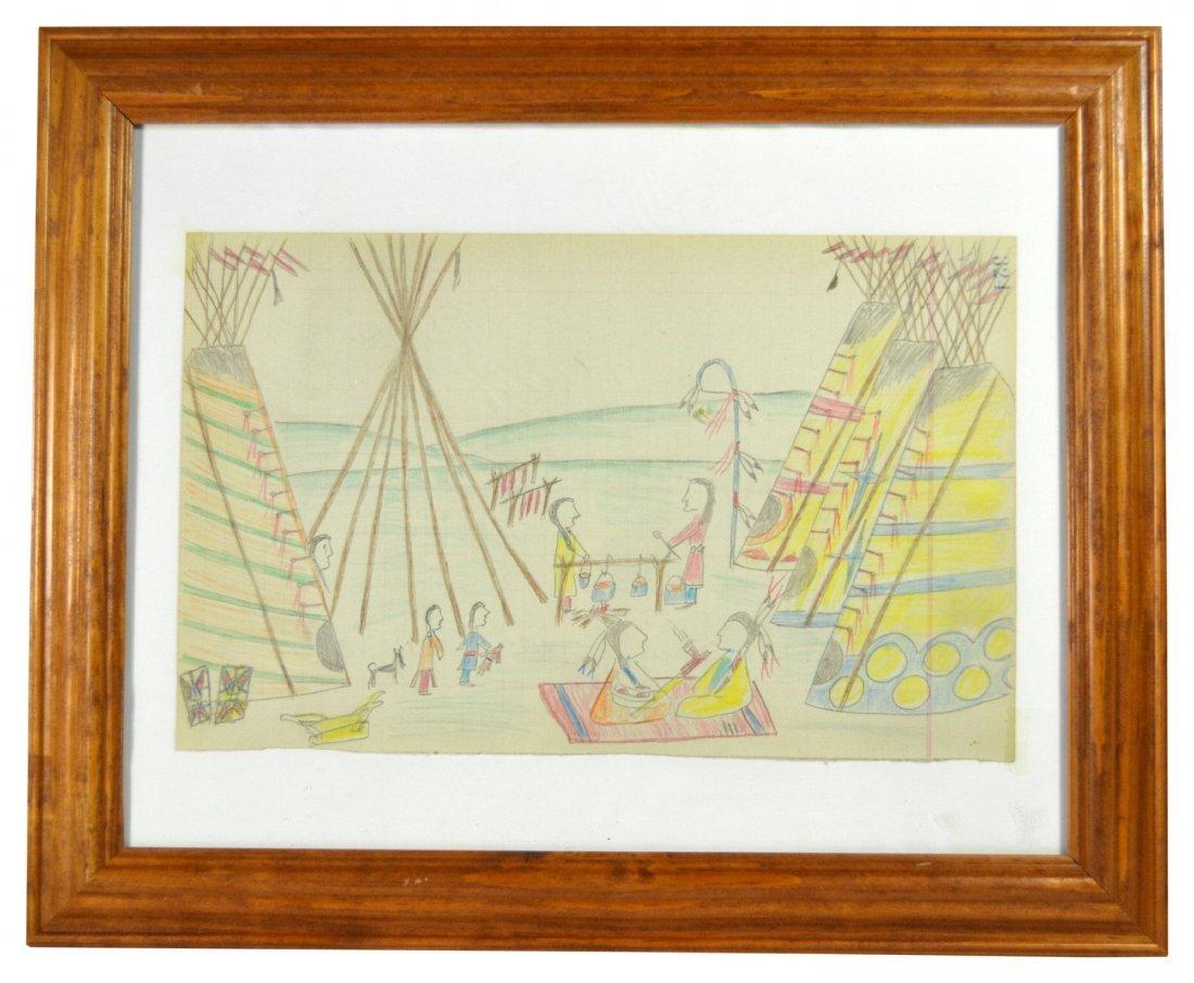 Ledger Drawing - American Indian, Naive - 2