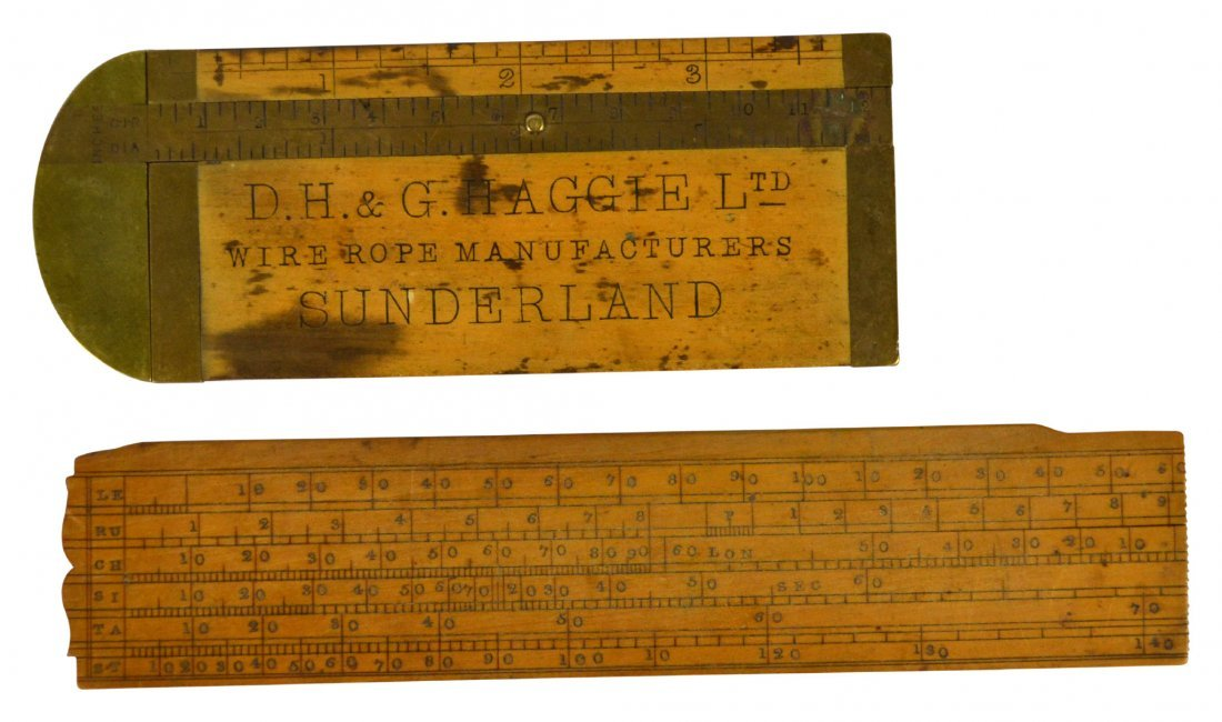 (2) Ruler & Caliper, Rabone & sons, brass, c.1880