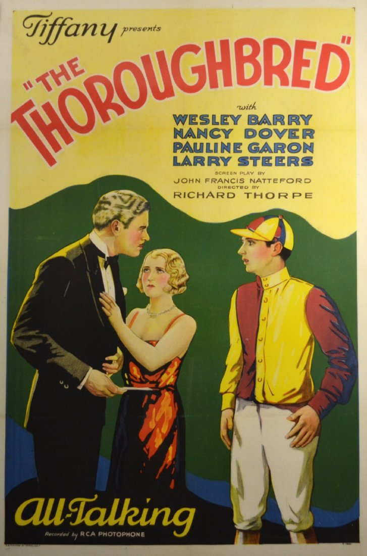"""Movie Poster, """"The Thoroughbred"""" 1930"""