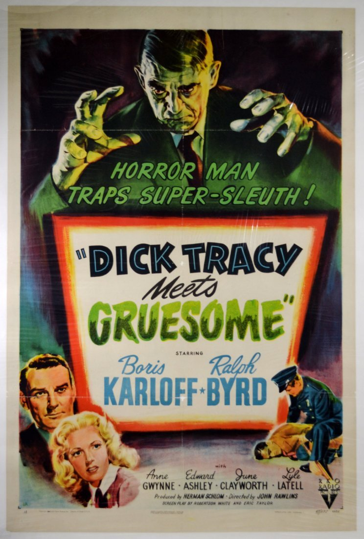 """Movie Poster, """"Dick Tracy Meets Gruesome"""" 1947"""