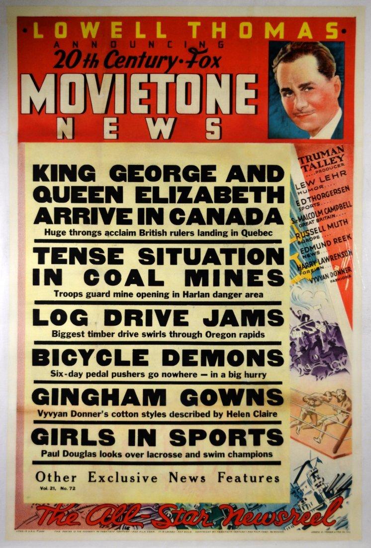 "Movie Newsreel Poster, ""Movietone News"" 1938"