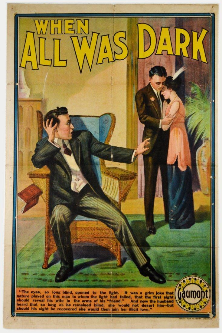 """Movie Poster, """"When All Was Dark"""" 1910"""