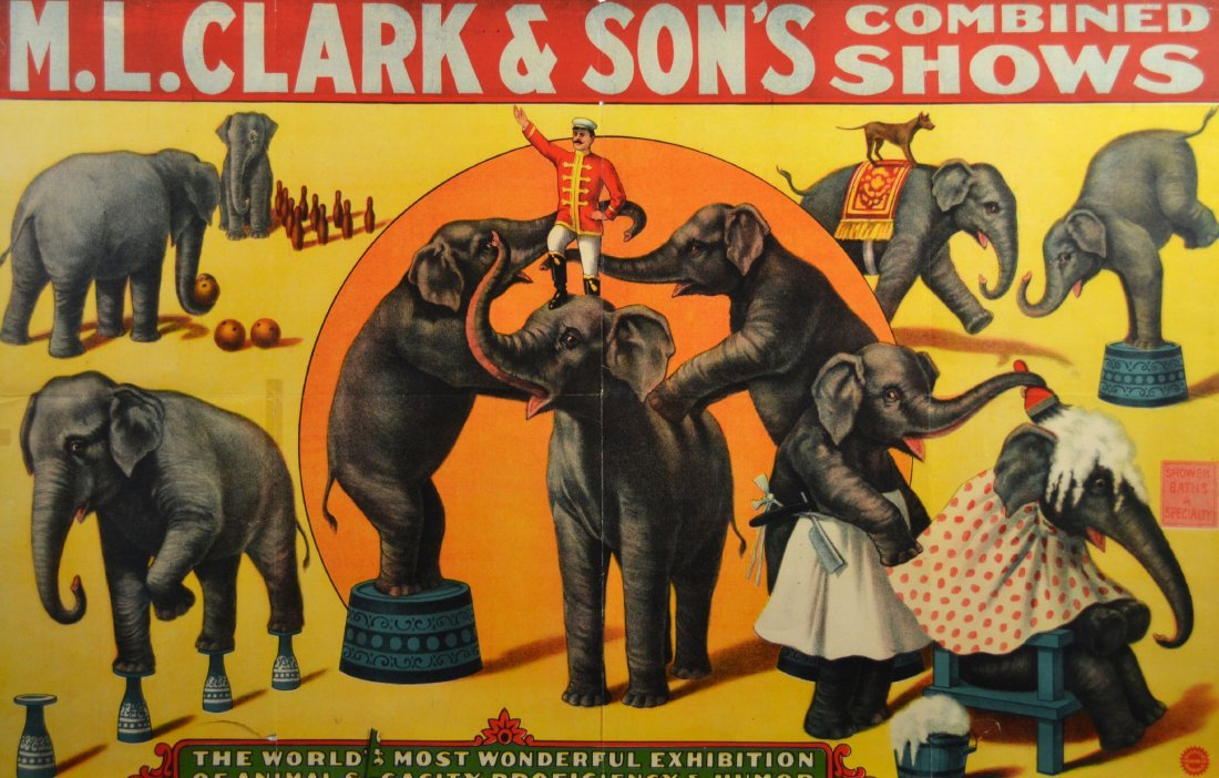 Circus Advertisement, M.L. Clark & Sons 1930