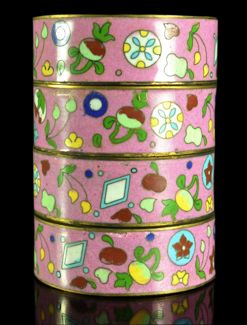 (4) Stacked Bowls, Cloisonne, Audrey Meadows Gift