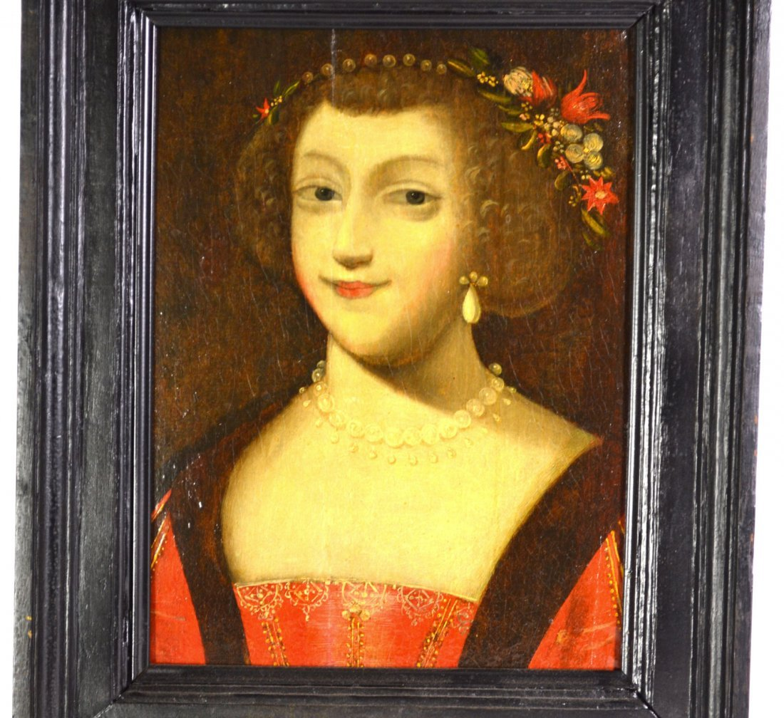O/P, 'Portrait of Woman w/ Pearls' 17th Century
