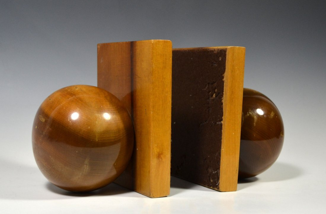 Pair of Bookends, Wood, Balls