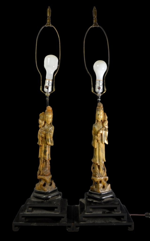 Pair of Lamps, Carved Soapstone, Chinese