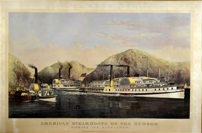 Litho. owned by FDR, C&I 'Steamboats on Hudson'