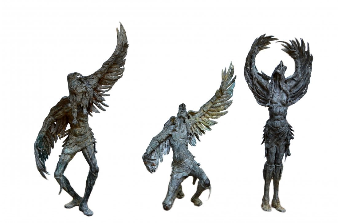 (3) Bronzes, Native Americans by Gib Singleton
