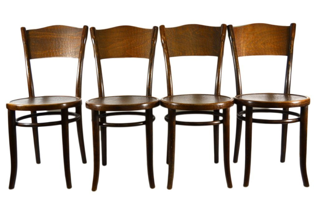 (4) Chairs by Michael Thonet, Alligator Pattern
