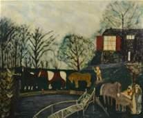 O/C Farm Scene, Ludwig Bemelmans, 20thC