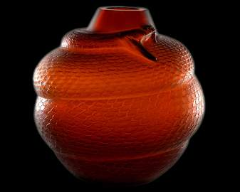 Rare Lalique, Snake Vase, Amber