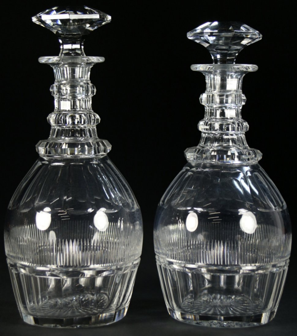 Pr. of  Decanters, cut crystal, St. Louis, France